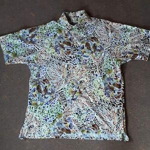 1980's men's art deco batik button down